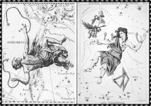 On the Right, Johannes Hevelius's depiction of Andromeda, from the 1690 edition of his Uranographia. On the Left, Andromeda as depicted in Urania's Mirror, a set of constellation cards published in London. in 1825.
