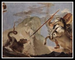 """Bellerophon, riding Pegasus, slaying the Chimera"" by Giovanni Battista Tiepolo. 18th century."