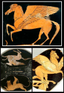 Above. Pegasus. Attic Red Figure Attributed to Skythes. C5th B.C. Down. On the left Pegasus and Chimera. Attic Red Figure. C4th B.C. Down. On the right, Pegasus, Apulian red-figure vase. C4th B.C.
