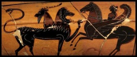 Bellerophon riding Pegasus, against Chimera. Attic Black Figure. Ca 560 - 550 BC.