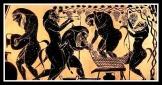 Sileni. Amphora. Attic Black Figure. 520 BC.