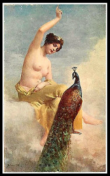 """The peacock complaining at Juno"" by Jehanne (1913). Juno or Hera was one of the contestants in the Judgement of Paris."
