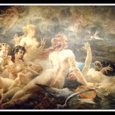 """Les Sirenes visitées par les Muses"" by Adolphe La Lyre (19th century). The Sirens , better known here as The Nereids were Fifty beautiful Sea Nymphs. Andromeda´s mother, Cassiopeia had offended these nymphs by boasting that Andromeda was more beautiful than they."