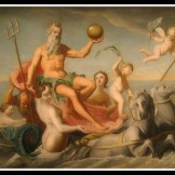 """The Return of Neptune"" by John Singleton Copley (1754). Neptune or Poseidon was the God of Sea. He sent a sea monster called Cetus to ravage Andromeda´s father kingdom, in defense of the beautiful Nereids."