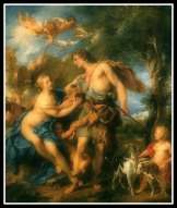 """Venus and Adonis"" by Francois Lemyone. (1729). Venus or Aphrodite raised the handsome Adonis, who was Myrrha´s son."
