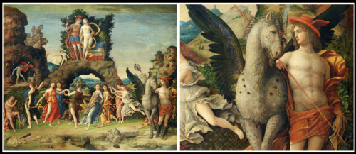 "On the Left: ""Parnaso"" by Andrea Mantegna, 1497. On the Right: Detail Hermes and Pegasus."