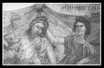 The goddess Mnemosyne places her hand on the back of a man's head, symbolically aiding his memory. Mosaic. C2nd - C3rd AD. Imperial Roman Period.