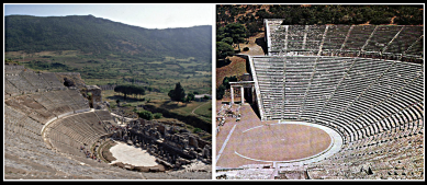 On the Left: Greek theatre at Ephesus (now in Turkey). Built in the 10th century BC. On the Right: Ancient Greek theatre of Epidauros.Date of Construction: ca. 300-340 BC.