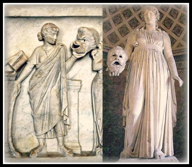 Greek Sculptures. On the Left: Thalia, Muse of Comedy. On the Right: Melpomene, Muse of Tragedy.