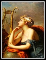 """Urania"" (Muse of Astronomy). Detail, ""Apollo and his muses"" by Charles Meynier. 1800."