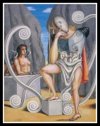 Oedipus and the Sphinx by Giorgio de Chirico. 1968.