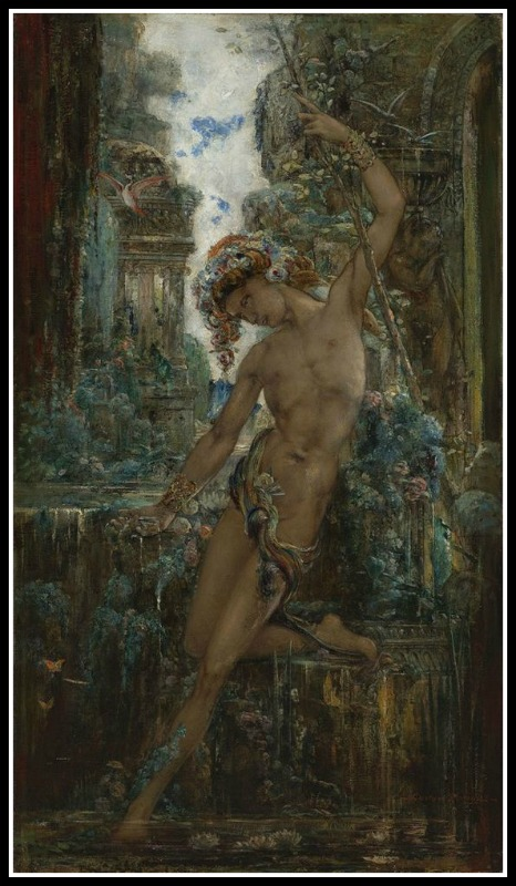 """Narcissus"" by Gustave Moreau (19th century).-"