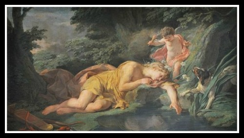 """Narcissus transforms into a flower"" by Nicolas-Bernard Lépicié (1771).-"