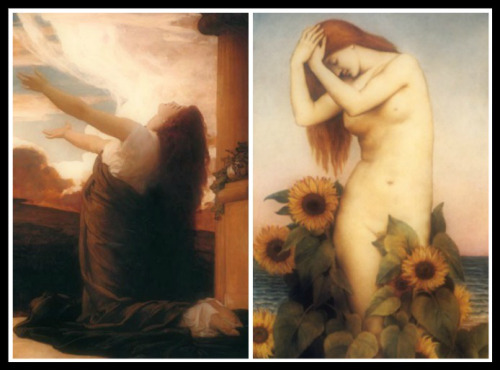 "On the Left: ""Clytie: Sorrow and Sunflowelite"" by Frederic Leighton (1895). On the Right: ""Clytie"" by Evelyn De Morgan (1887)."