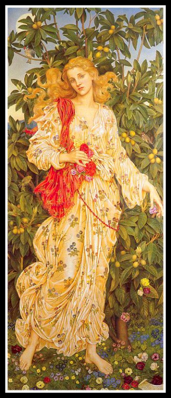 """Flora"" (Goddess of Flowers) by Evelyn De Morgan. 1894."