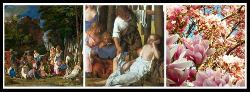 "On the Left: ""The Feast of the Gods"" by Giovanni Bellini and Titian. 1514–1529 Painting and Detail ""Priapus and Lotis"", respectively. On the Right: Lotus tree (flowers)"