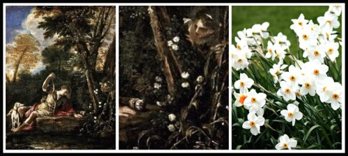 "On the Left: ""Echo and Narcissus"". Pier Francesco Mola. 1633-41. Painting and detail, respectively. On the Right: Narcissus."
