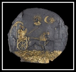 Medallion depicting Cybele and the sun god in the sky looking on as she rides in her chariot. 2nd century BC