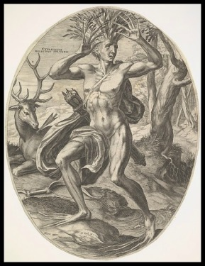 Cyparissus from set The Rural Gods by Cornelis Cort. 1565.