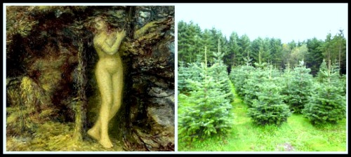"On the Left: ""Pan and Pitys"" by Edward Calvert. 1850. On the Right: Fir Trees."