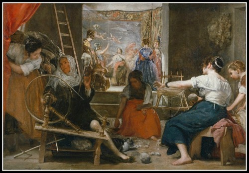 """""""The Spinners"""", or, """"The Fable of Arachne"""" by Diego Velázquez (1644–48)."""