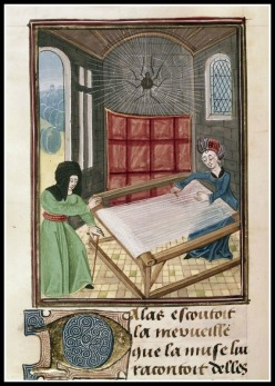 """ Pallas and Arachne at the loom"" , from Ovide Moralise written by Chretien Legouais (vellum), French School. 14th century."