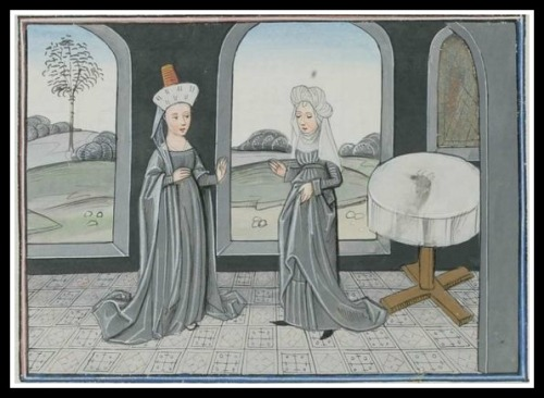 """""""Arachne boasts to Minerva about her weaving and is changed into a spider"""", Epitre d'Othea, by Christine of Pisan. Cod. Bodmer 49, 97r (Cologny, Fondation Martin Bodmer)."""