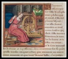 """Filage à la quenouille. Boccace - """"Le livre des cleres et nobles femmes"""" - 15th century."""