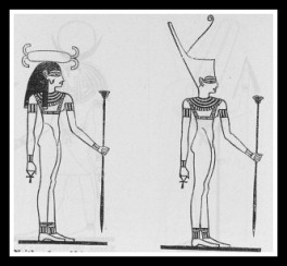 Neith, wears sometimes a shuttle on her head; sometimes a crown.