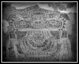 Ancient Aztec mural painting of The Great Goddess of Teotihuacan, discovered in the 1940s in Tepantitla. The Goddess seem to be related to The Great Spider mythology.