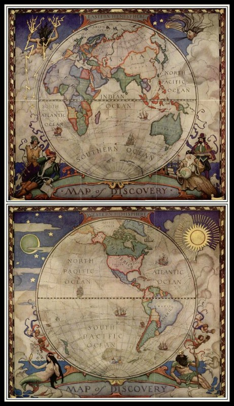 Maps of Eastern & Western Hemispheres by N.C. Wyeth for National Geographic, 1928