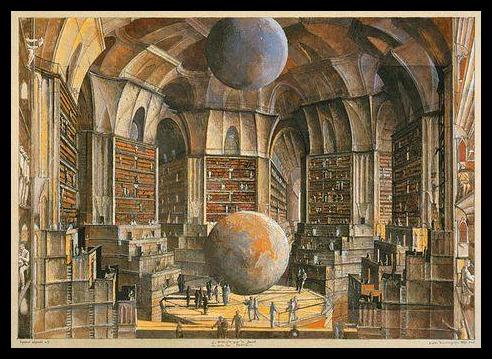 """La Salle des planetes, by Erik Desmazieres, for """"The Library of Babel"""" by Jorge Luis Borges"""