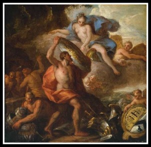 """Hephaestus presents his mighty gifts to Thetis"" by Sir James Thornhill. 18th century."