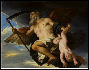 """Chronos and his child"" by Giovanni F. Romanelli, a 17th century depiction of Titan Cronus as ""Father Time""."
