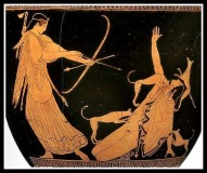 Vase depicting Artemis killing Aktaion. Attic Red Figure. (470 BC).