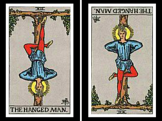Hanged Man Card: Upright and Reversed.