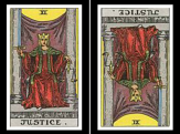 Justice Card: Upright and Reversed.