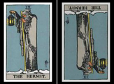 The Hermit Card. Upright and Reversed.