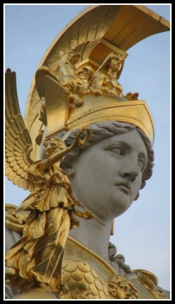 Detail: Athena Statue in Front of the Parliament Building, Vienna, Austria