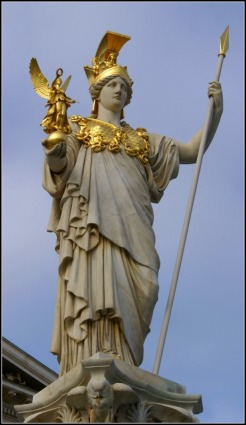 Athena Statue in Front of the Parliament Building, Vienna, Austria
