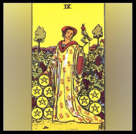Minor Arcana: Nine of Pentacles.